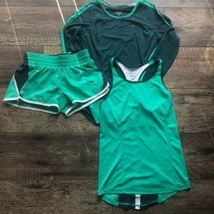 Nike Dri-Fit Tank Top, Shorts, and Long Sleeve